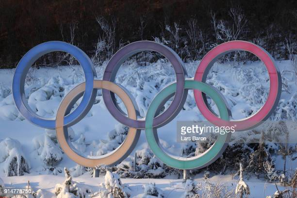The Olympic Rings are seen during previews ahead of the PyeongChang 2018 Winter Olympic Games at Alpensia Biathlon Centre on February 6 2018 in...