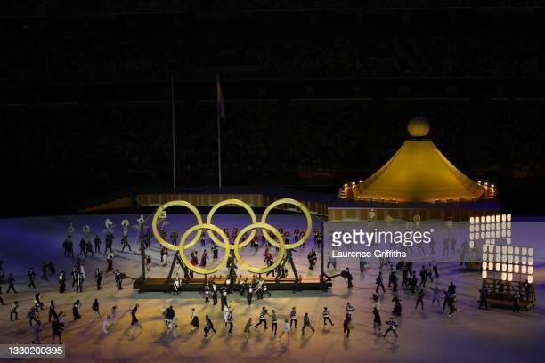 The Olympic Rings are seen during the Opening Ceremony of the Tokyo 2020 Olympic Games at Olympic Stadium on July 23, 2021 in Tokyo, Japan.