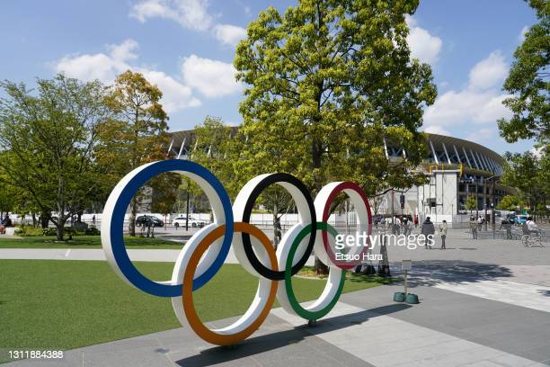 The Olympic Rings are seen in front of the stadium prior to the Women's international friendly match between Japan and Panama at the National Stadium...