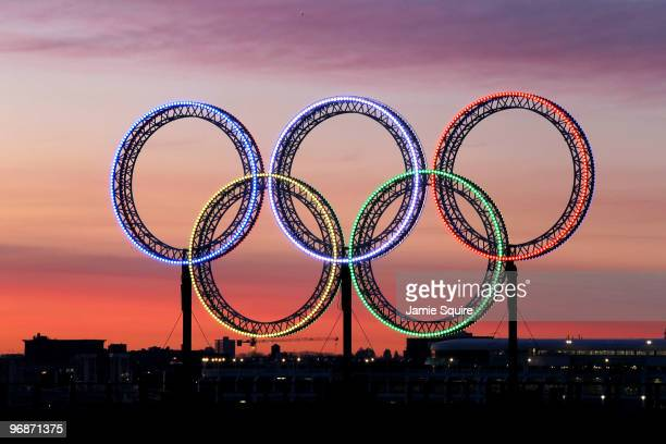 The Olympic rings are seen in Vancouver harbour during the early morning on day 8 of the Vancouver 2010 Winter Olympics on February 19 2010 in...