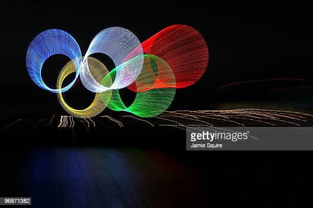 The Olympic rings are seen in Vancouver harbour during the early morning on day 8 of the Vancouver 2010 Winter Olympics on February 19, 2010 in...