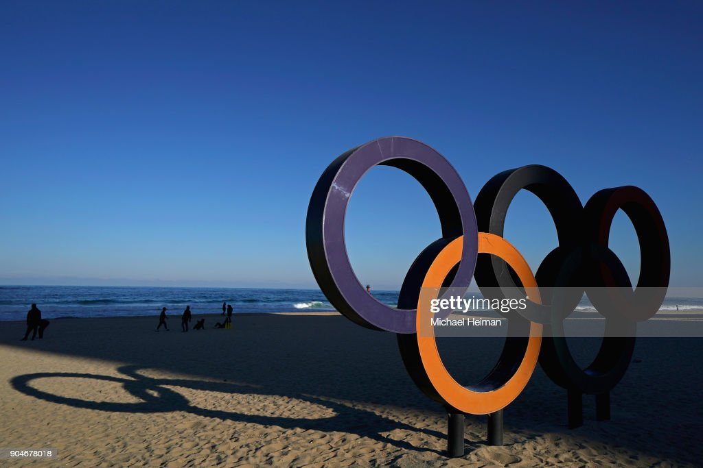 The Olympic Rings are seen on Geongpo Beach on in Gangneung ahead of the Pyeongchang 2018 Winter Olympics on January 12, 2018 in Pyeongchang-gun, South Korea.