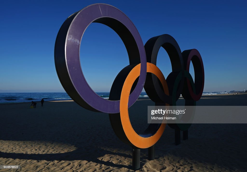 The Olympic Rings are seen on Gyeongpo Beach in Gangneung ahead of the Pyeongchang 2018 Winter Olympics on January 12, 2018 in Pyeongchang-gun, South Korea.