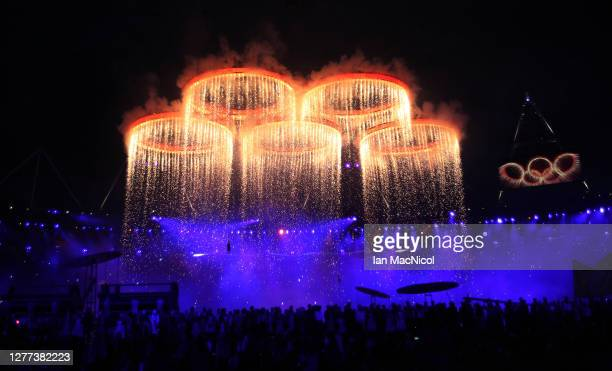 The Olympic Rings are seen rising during the Opening Ceremony of the London 2012 Olympic Games, directed by Danny Boyle, London spent an estimated...
