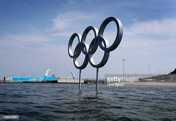 The Olympic rings as seen from the water during training at the Weymouth Portland Venue ahead of the London 2012 Olympic Games on July 27 2012 in...
