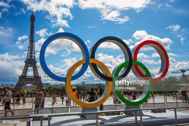 The Olympic Rings being placed in front of the Eiffel Tower in celebration of the French capital won the hosting right for the 2024 summer Olympic...
