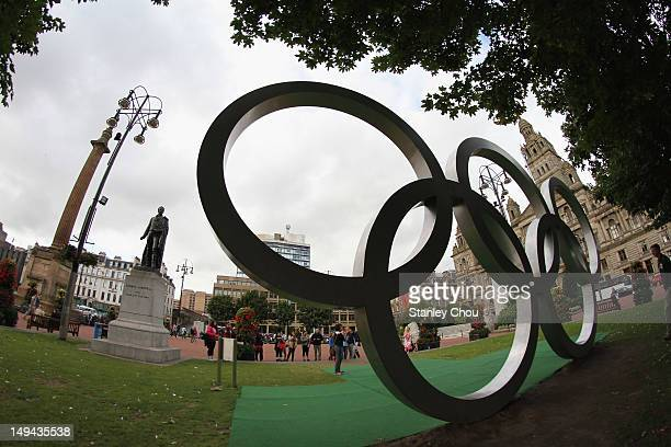 The Olympic Rings display at a park in the Centre of Glasgow city in a procession ceremony conjunction with the 2012 London Olympic Games opening...