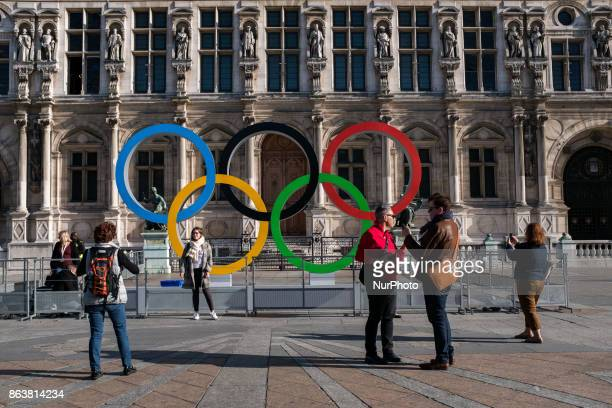 The Olympic rings in front of the town hall to celebrate Paris officially being awarded the 2024 Olympic Games in Paris France on October 20 2017