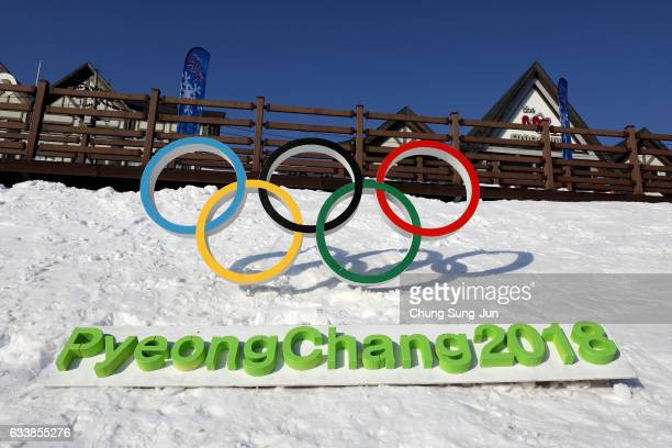 The Olympic rings is seen in Hoenggye town, near the venue for the Opening and Closing ceremony ahead of PyeongChang 2018 Winter Olympic Games on...