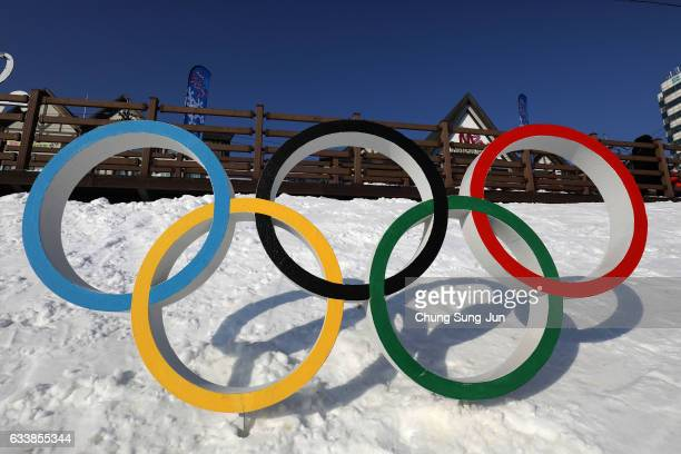 The Olympic rings is seen in Hoenggye town near the venue for the Opening and Closing ceremony ahead of PyeongChang 2018 Winter Olympic Games on...