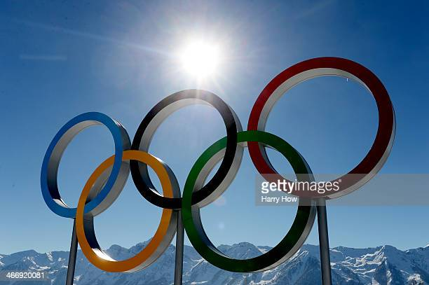 The Olympic rings on display during training ahead of the Sochi 2014 Winter Olympics at the Laura CrossCountry Ski and Biathlon Center on February 5...