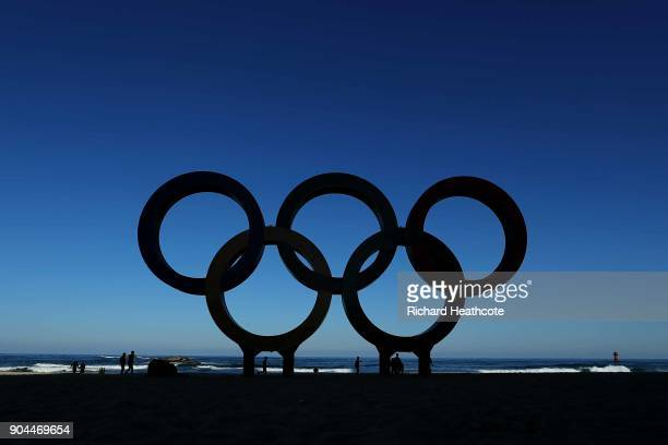 The Olympic Rings on the beach at Gangneung ahead of the Pyeongchang 2018 Winter Olympics on January 12, 2018 in Pyeongchang-gun, South Korea.