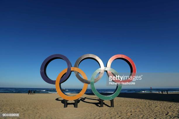 The Olympic Rings on the beach at Gangneung ahead of the Pyeongchang 2018 Winter Olympics on January 12 2018 in Pyeongchanggun South Korea