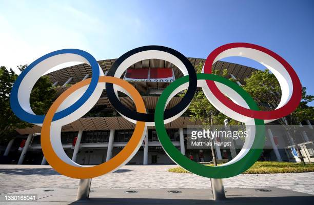 The Olympic rings outside of the stadium prior to the Opening Ceremony of the Tokyo 2020 Olympic Games at Olympic Stadium on July 23, 2021 in Tokyo,...