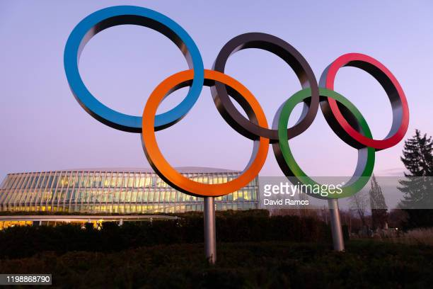 The Olympic Rings sit on display outside the International Olympic Committee Headquarters on January 11, 2020 in Lausanne, Switzerland.