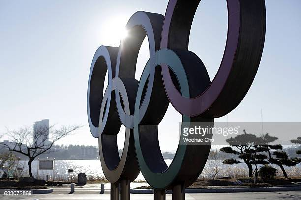 The Olympic Rings stands at the center of a traffic circle on December 16 2016 in Gangneung South Korea
