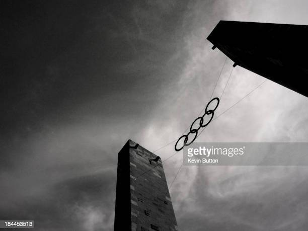 The Olympic Rings suspended between the towers at the entrance of the Olympic Stadium in Berlin, where the XI Olympic Games were held in 1936....