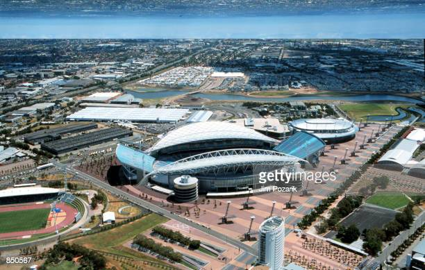 The Olympic Stadium for the Sydney Olympics is shown in this aerial photograph taken in Sydney, Australia March 30, 2000.