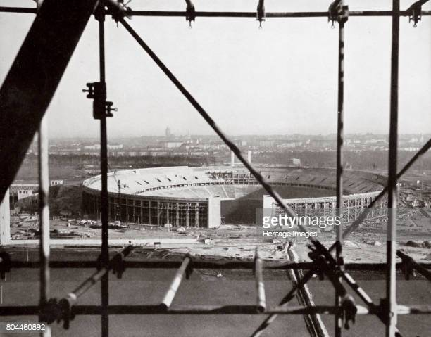 The Olympic Stadium from the Bell Tower Berlin Germany c1934c1936 The stadium in the Reichssportfeld sports complex under construction From Germany...