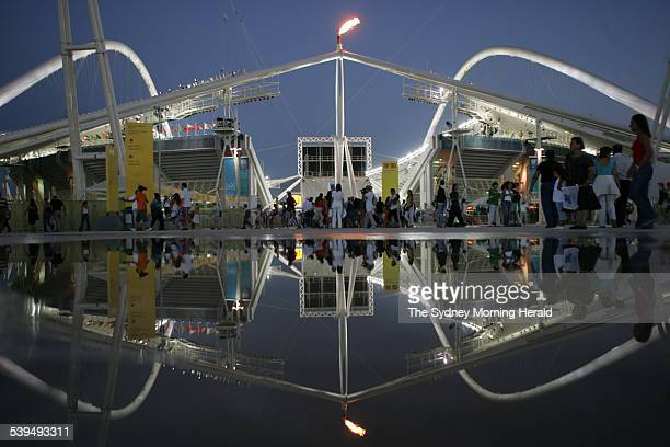 The Olympic Stadium in Athens as fans arrive for the evening session on 25 August 2004 SMH OLYMPICS Picture by TIM CLAYTON