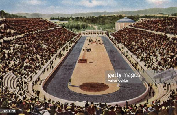 The Olympic stadium in Athens built by the Greek philanthropist Averof for a cost of one million drachmas. It was the scene of the 1896 games.