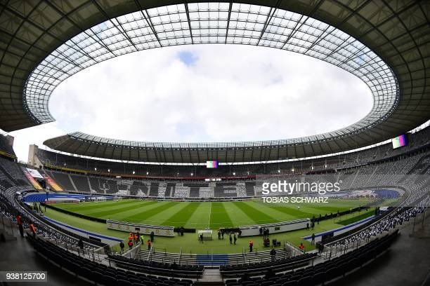 the Olympic stadium in Berlin is pictured during a training session of the Brazilian team on the eve of the friendly football match Germany vs Brazil...