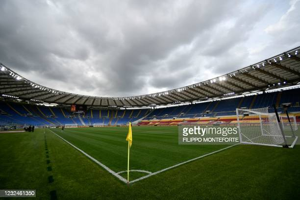 The Olympic stadium in Rome is pictured prior to the Italian Serie A football match AS Rome vs Atalanta Bergamo on April 22, 2021. - Euro 2020 will...