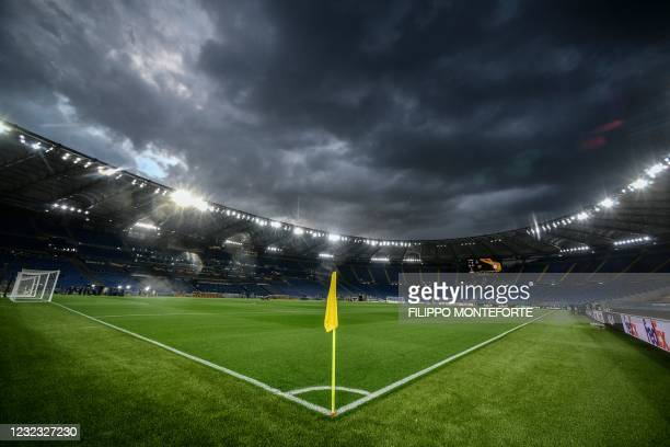 The Olympic stadium in Rome, Italy, is pictured prior to the UEFA Europa League quarter final second leg football match AS Rome vs Ajax Amsterdam on...