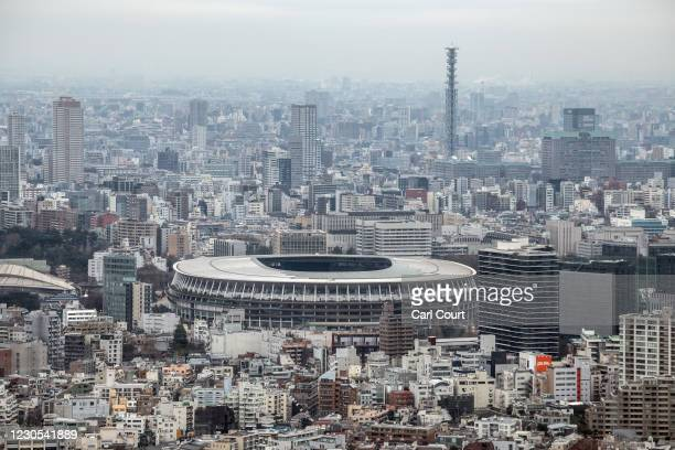 The Olympic Stadium is pictured from the Shibuya Scramble Square viewing area on January 12, 2021 in Tokyo, Japan. Recent surveys by Kyodo News and...