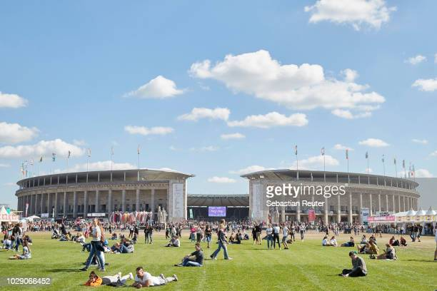 The olympic stadium is seen during Lollapalooza Berlin 2018 at Olympiagelaende on September 8 2018 in Berlin Germany