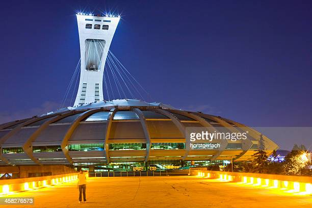 the olympic stadium of montreal, canada - montreal olympic stadium stock photos and pictures