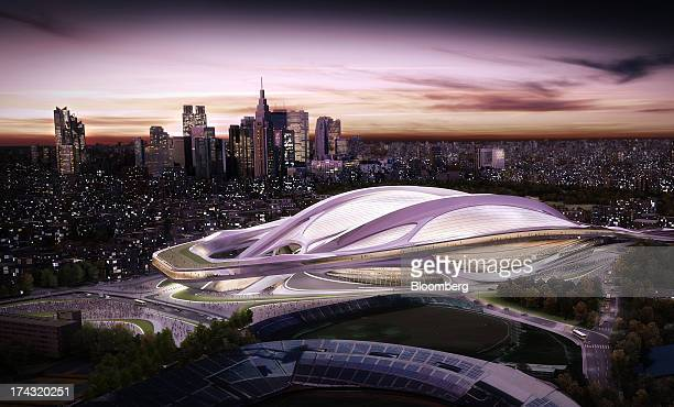 The Olympic Stadium stands in Tokyo, Japan, in this computer generated handout image, provided to the media on Wednesday, April 3, 2013. Tokyo, the...