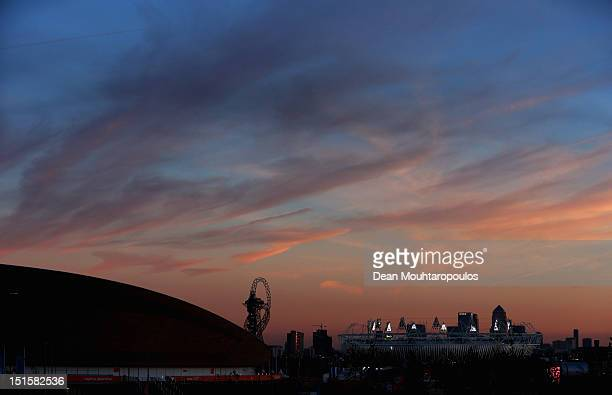 The Olympic Stadium Velodrome for Track Cycling and ArcelorMittal Orbit are pictured on day 10 of the London 2012 Paralympic Games at Eton Manor on...