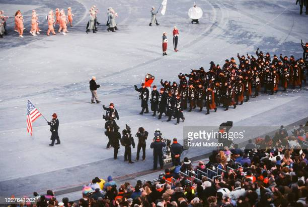 The Olympic Team of the United States marchs in the Opening Ceremony of the 1992 Winter Olympics held on February 8, 1992 in Albertville, France. The...
