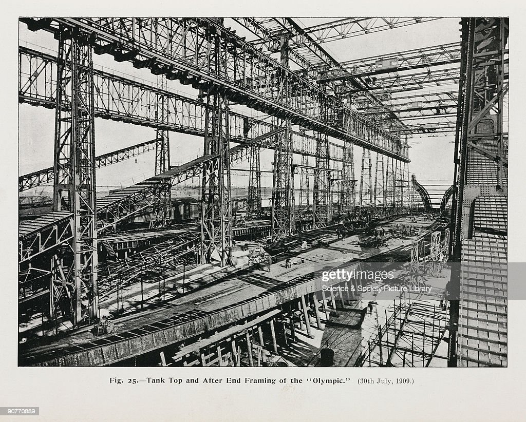 Tank top and after end framing of the olympic 13 july 1909 olympic was built by harland wolff in belfast northern ireland jeuxipadfo Choice Image