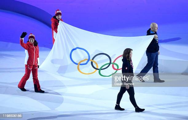 The OlympicFlag is seen during the Opening Ceremony of the Lausanne 2020 Winter Youth Olympic Games at Vaudoise Arena on January 09, 2020 in...