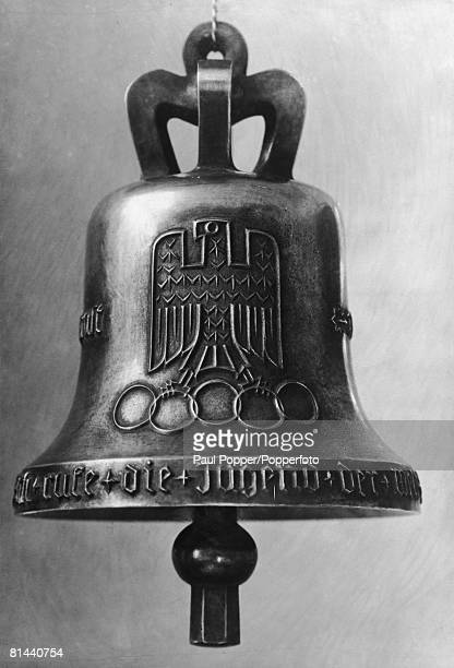 The Olympics Bell created for the 1936 Summer Olympics in Berlin 1936 On its surface are cast a German eagle the five Olympic rings and the motto...