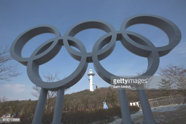 The Olympics Rings with Alpensia Ski Jumping Centre in the distance Alpensia Village on the 9th February 2018 in Pyeongchanggun South Korea