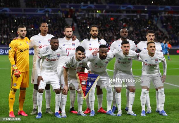 The Olympique Lyon players pose for a team photo prior to the UEFA Champions League round of 16 first leg match between Olympique Lyon and Juventus...