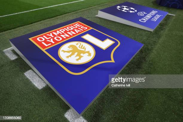 The Olympique Lyon team logo is seen prior to the UEFA Champions League round of 16 first leg match between Olympique Lyon and Juventus at Parc...
