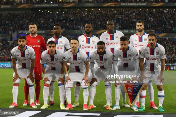 The Olympique Lyonnais Lyon players pose for a team picture prior to the Uefa Europa League semi final second leg match between Olympique Lyonnais...