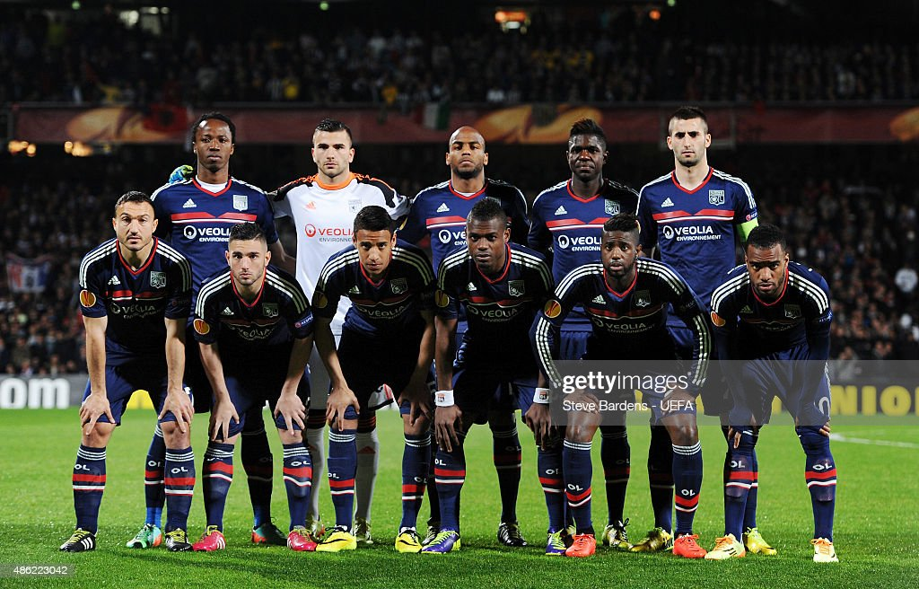 The Olympique Lyonnais team line up prior to the UEFA Europa League Quarter Final 1st leg match between Olympique Lyonnais and Juventus at Stade de Gerland on April 3, 2014 in Lyon, France.