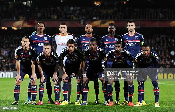 The Olympique Lyonnais team line up prior to the UEFA Europa League Quarter Final 1st leg match between Olympique Lyonnais and Juventus at Stade de...