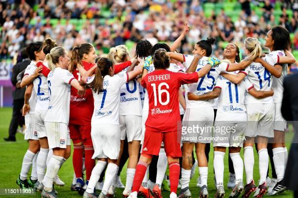 The Olympique Lyonnais Women team celebrate after winning the UEFA Women's Champions League Final between Olympique Lyonnais Women and FC Barcelona...