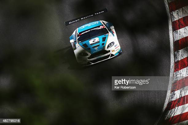 The Oman Racing Team Aston Martin Vantage of Ahmad Al Harthy and Daniel Lioyd drives during the British GT Championship race at Brands Hatch on...