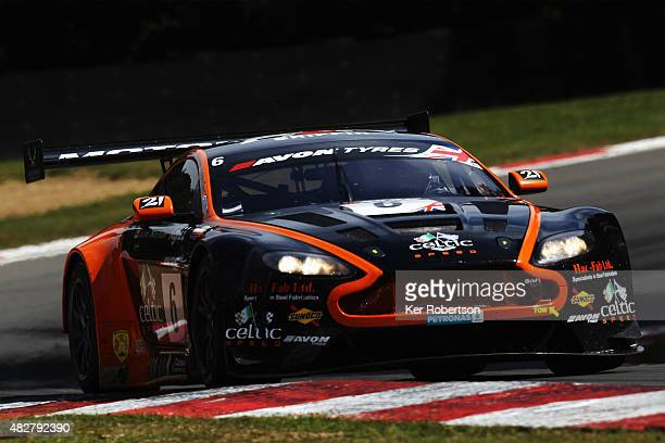 The Oman Racing Team Aston Martin Vantage of Liam Griffin and Rory Butcher drives during the British GT Championship race at Brands Hatch on August...