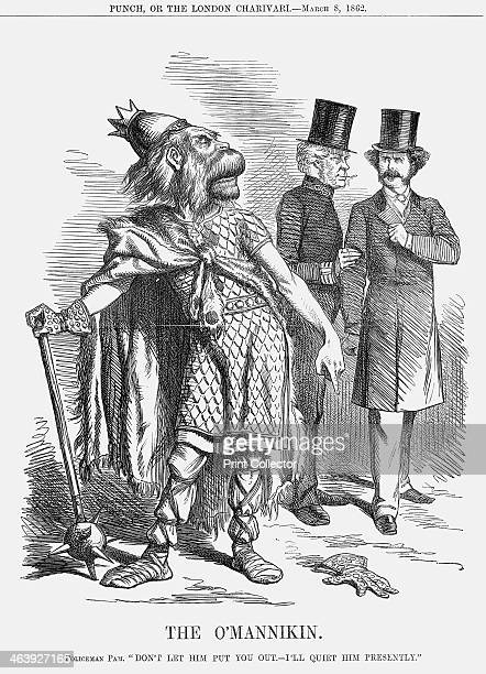 'The O'Mannikin' 1862 Policeman Pam comments Don't let Him Put you Out I'll Quiet him Presently In the background Policeman Palmerston tells Sir...