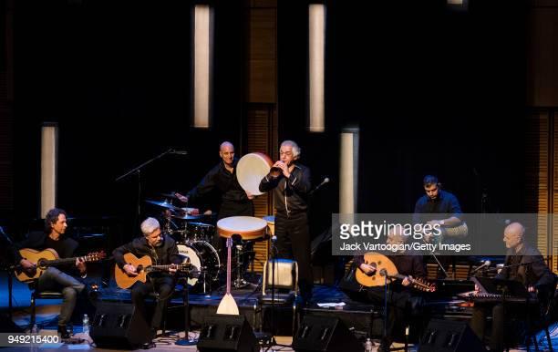 The Omar Faruk Tekbilek Ensemble with from left Turkish guitarist Itamar Erez special guest American guitarist Brian Keane CanadianArmenian drummer...