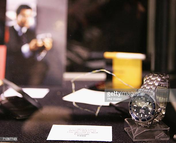 The Omega watch warn by James Bond in the 1999 film 'The World Is Not Enough' is seen in an exhibition of James Bond boats and gadgets at the New...