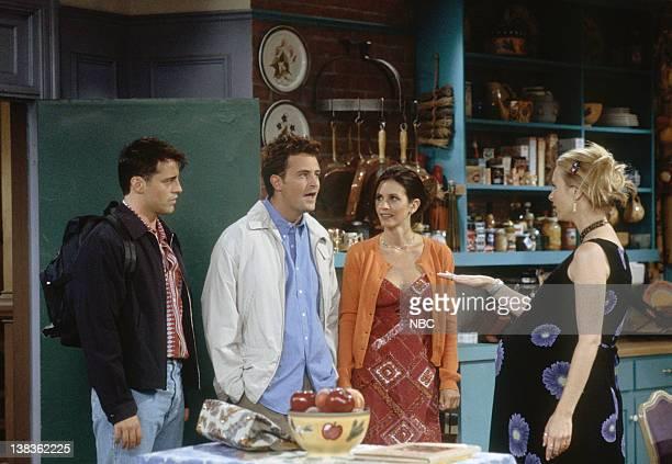"The One After Ross Says Rachel"" Episode 1 -- Pictured: Matt LeBlanc as Joey Tribbiani, Courteney Cox as Monica Geller, Matthew Perry as Chandler..."